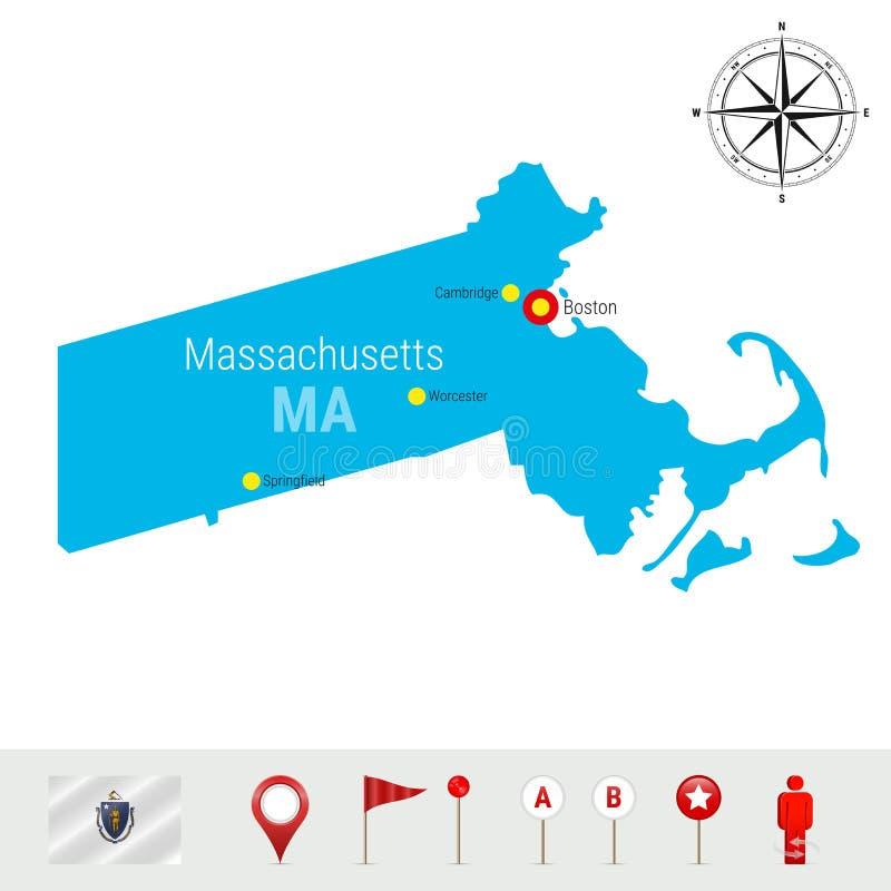 Mappa di vettore di Massachusetts isolata su bianco Alta siluetta dettagliata di Massachusetts Bandiera ufficiale di Massachusett illustrazione vettoriale