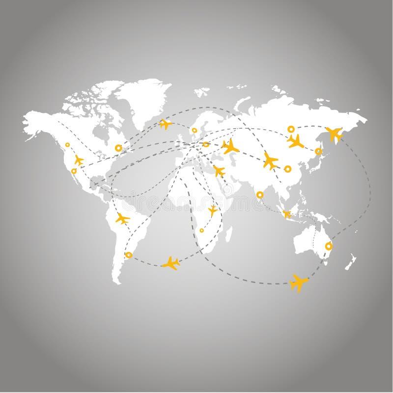 Mappa di viaggio æreo royalty illustrazione gratis