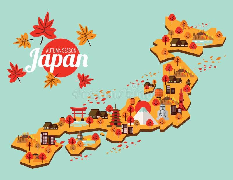 Mappa di viaggio del Giappone Stagione di autunno nel Giappone royalty illustrazione gratis