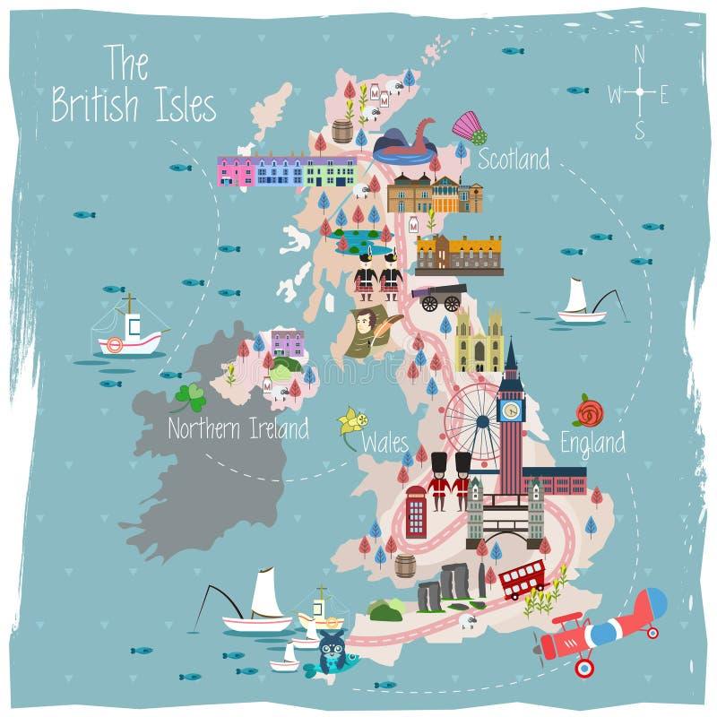 Mappa di viaggio del Regno Unito royalty illustrazione gratis