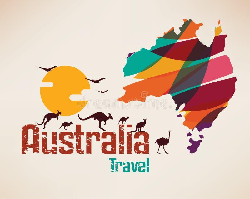 Mappa di viaggio dell'Australia, simbolo decrative illustrazione di stock