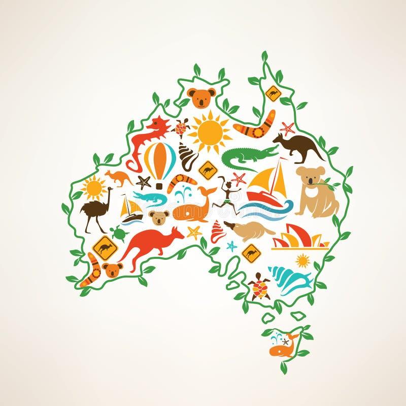 Mappa di viaggio dell'Australia, simbolo decrative dell'Australia illustrazione di stock
