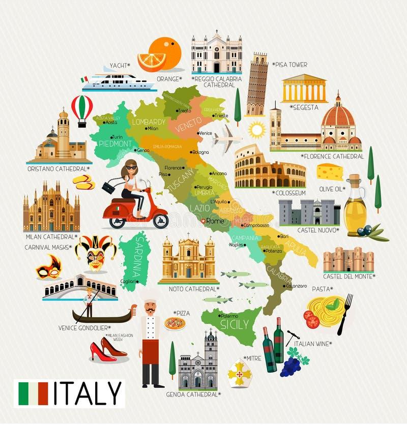 Mappa di viaggio dell'Italia illustrazione vettoriale