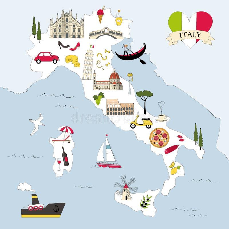 Mappa di viaggio dell'Italia con i punti di riferimento ed i simboli illustrazione di stock