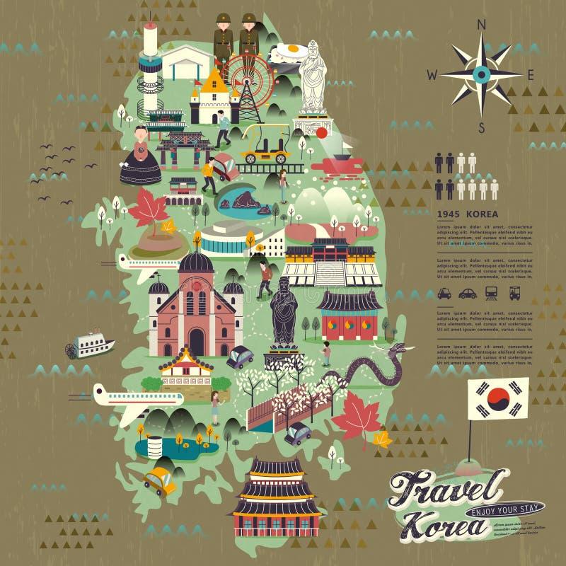 Mappa di viaggio della Corea del Sud illustrazione vettoriale
