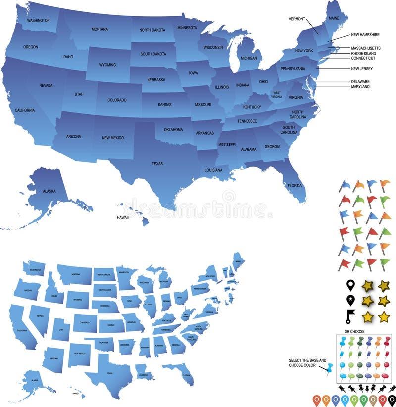 Mappa di viaggio di U.S.A. con gli stati e perni e bandiere per le destinazioni fotografia stock