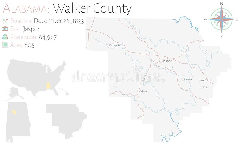 Mappa di Walker County nell'Alabama royalty illustrazione gratis
