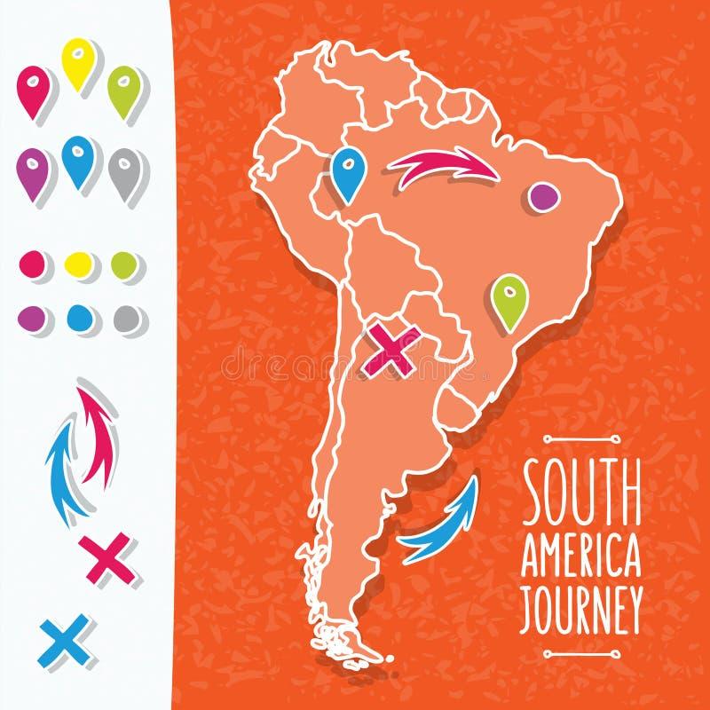 Mappa disegnata a mano arancio del Sudamerica con i perni della mappa illustrazione di stock