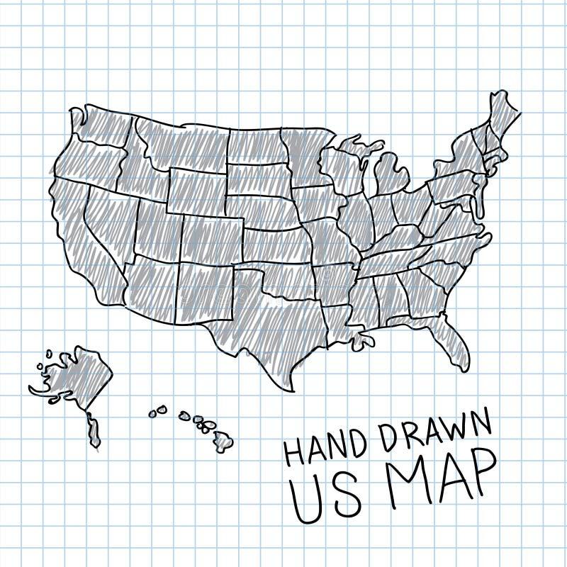 Mappa disegnata a mano degli Stati Uniti illustrazione vettoriale