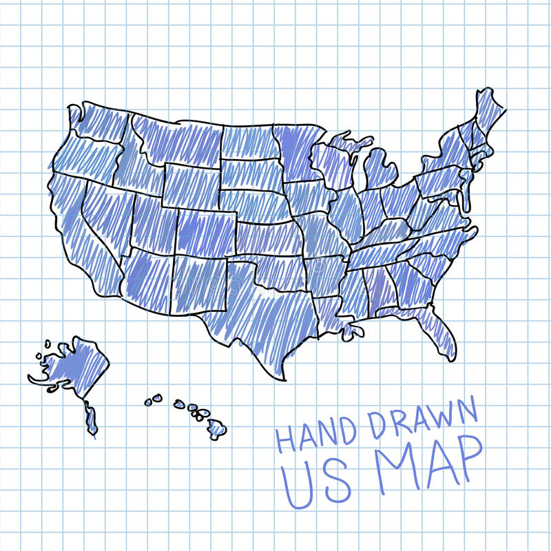 Mappa disegnata a mano degli Stati Uniti royalty illustrazione gratis