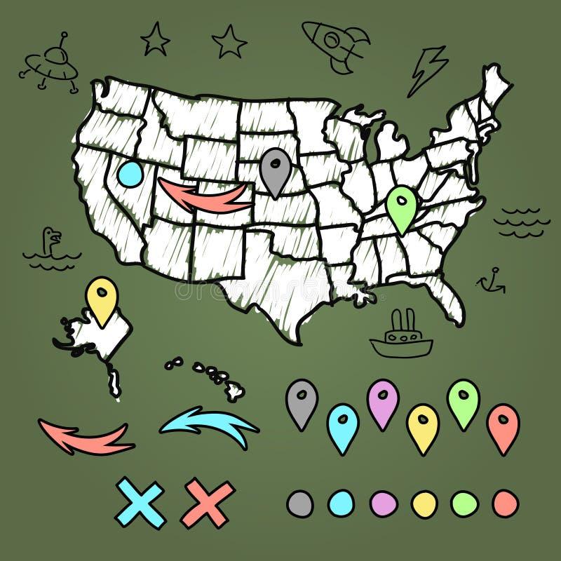Mappa disegnata a mano degli Stati Uniti con i perni illustrazione vettoriale