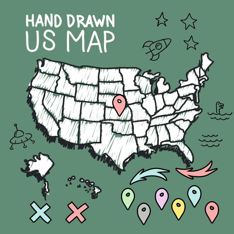Mappa disegnata a mano degli Stati Uniti sulla lavagna royalty illustrazione gratis