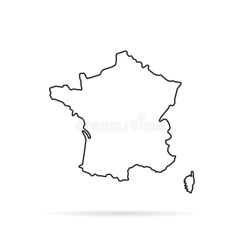 Mappa disegnata a mano del profilo nero della Francia illustrazione di stock