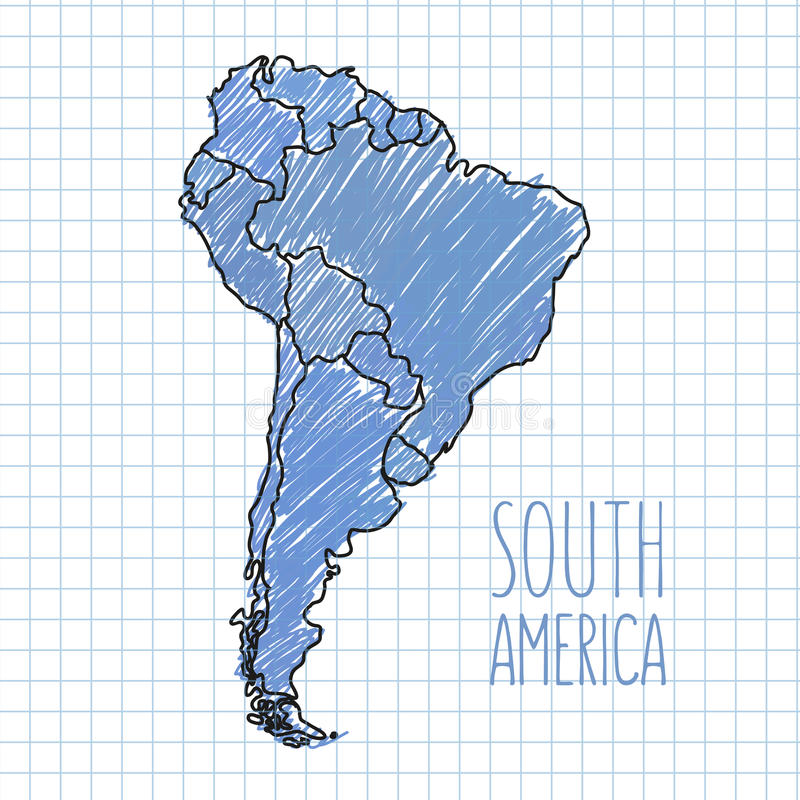 Mappa disegnata a mano del Sudamerica della penna di vettore su carta illustrazione di stock