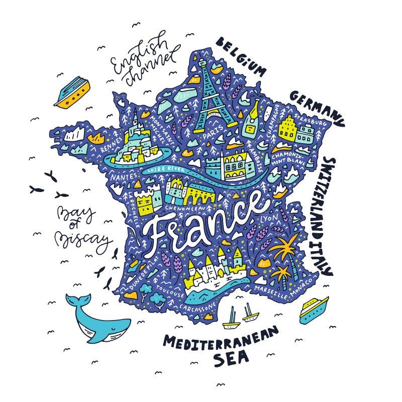 Mappa disegnata a mano della francia illustrazione for Architettura disegnata