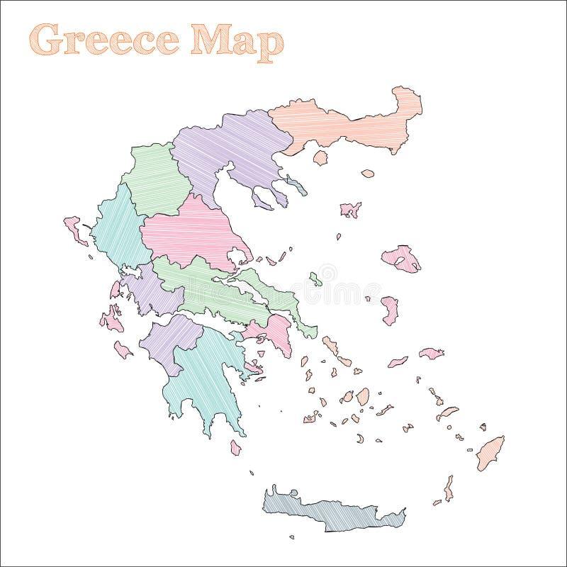 Mappa disegnata a mano della Grecia illustrazione vettoriale