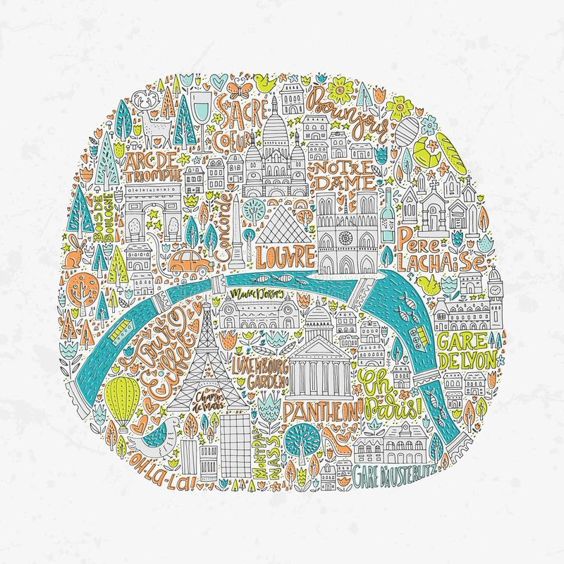 Mappa disegnata a mano di Parigi royalty illustrazione gratis