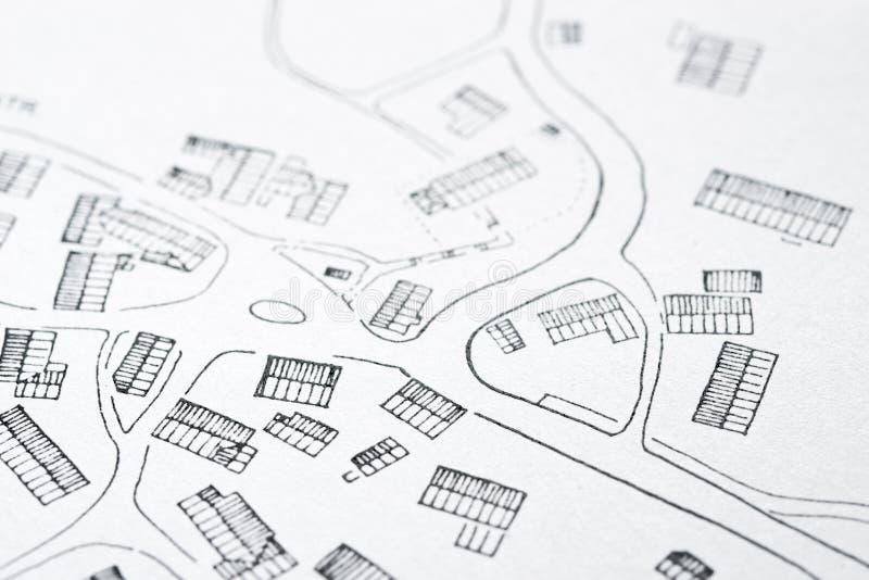 Mappa disegnata a mano di un villaggio tradizionale fotografia stock