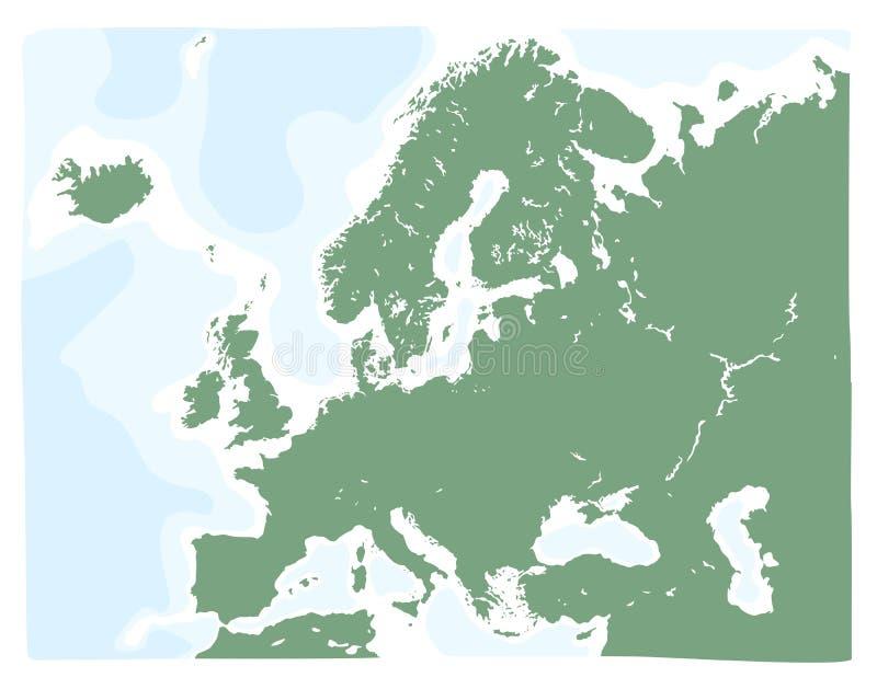 Mappa disegnata a mano di vettore di Europa nel colore verde royalty illustrazione gratis