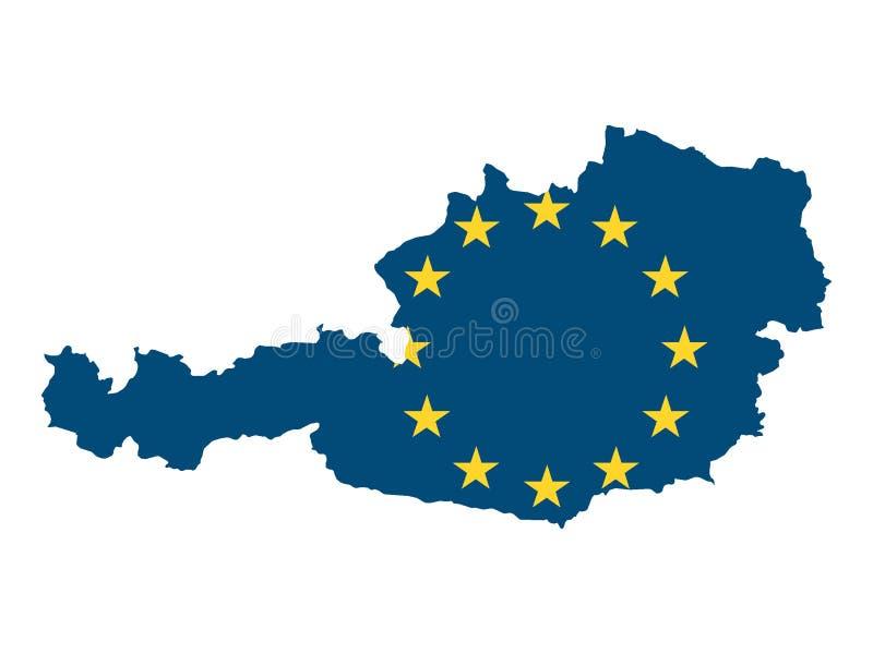 Mappa e bandiera combinate di paese dell'UE dell'Austria illustrazione di stock