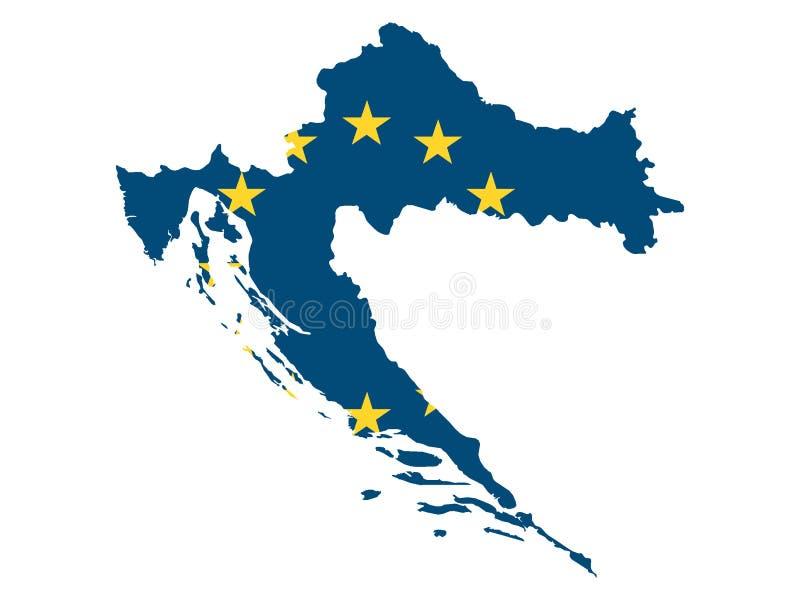 Mappa e bandiera combinate di paese dell'UE della Croazia royalty illustrazione gratis