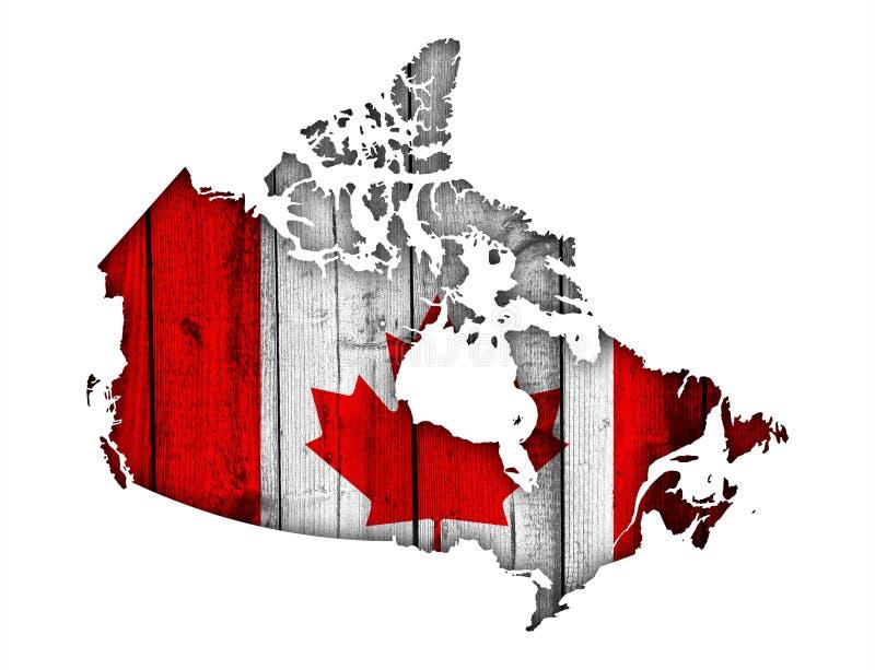 Mappa e bandiera del Canada su legno stagionato illustrazione vettoriale