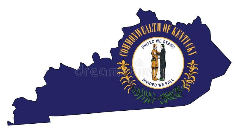 Mappa e bandiera del profilo dello stato del Kentucky illustrazione di stock
