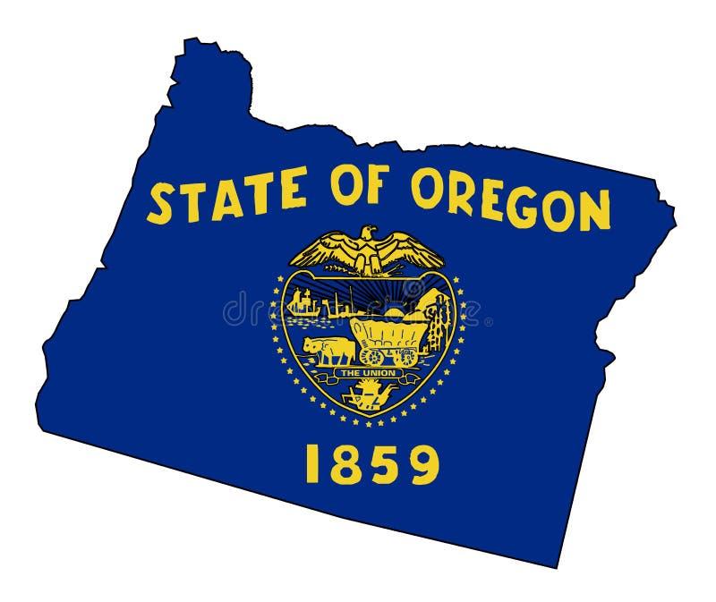 Mappa e bandiera del profilo dello stato dell'Oregon royalty illustrazione gratis