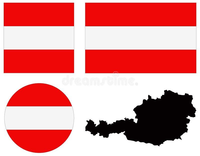 Mappa e bandiera dell'Austria - repubblica federale e paese in Europa centrale royalty illustrazione gratis