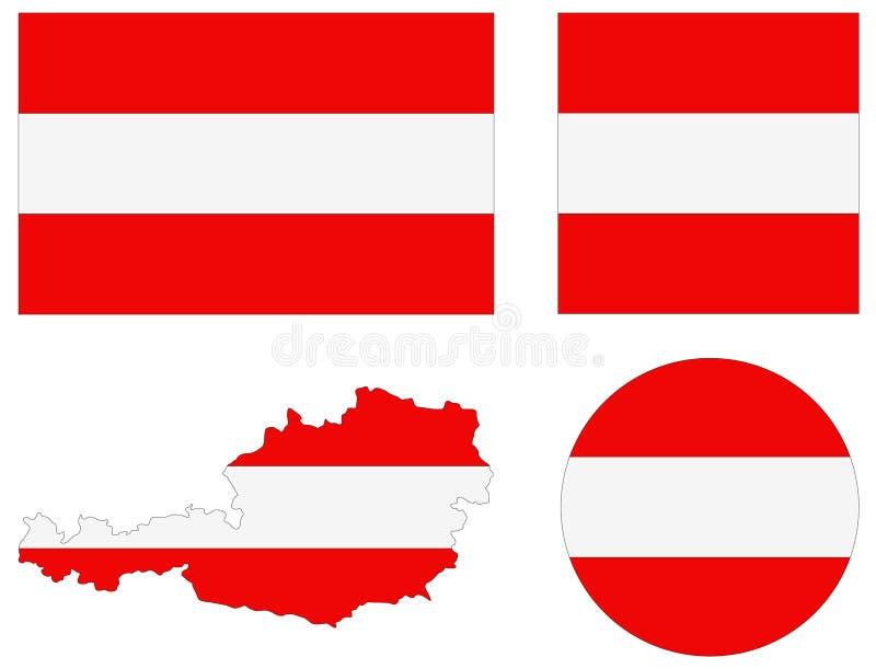 Mappa e bandiera dell'Austria - repubblica federale e paese in Europa centrale illustrazione di stock