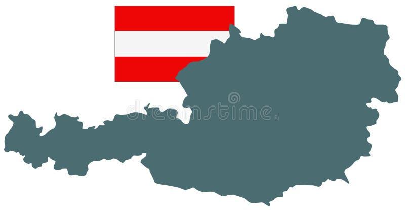 Mappa e bandiera dell'Austria - repubblica federale e paese in Europa centrale illustrazione vettoriale