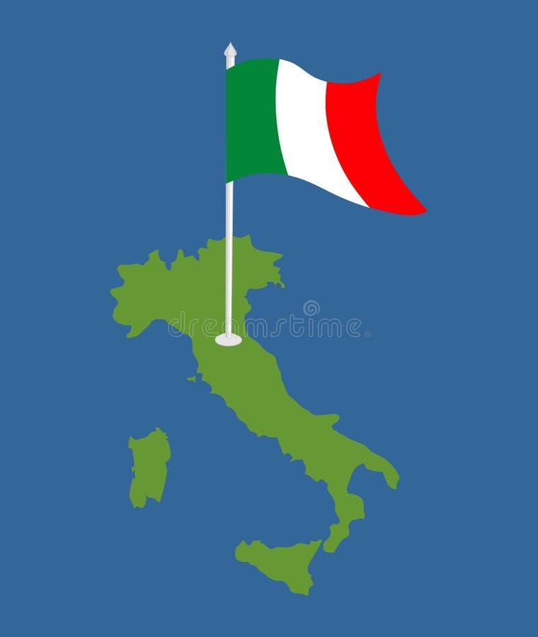 Mappa e bandiera dell'Italia Insegna italiana e area territoriale Patrioti dello stato illustrazione di stock