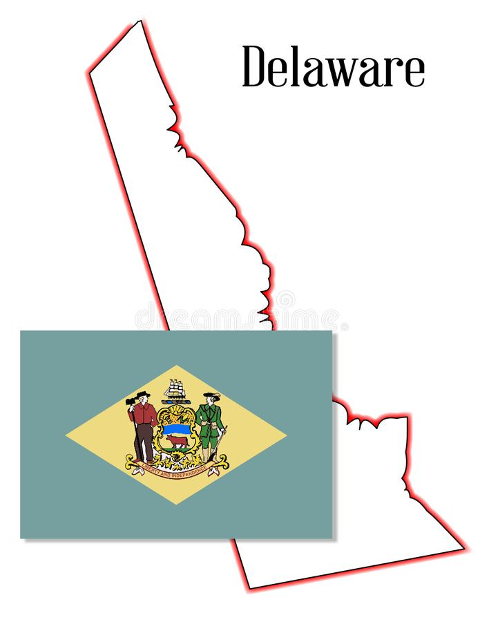Mappa e bandiera dello stato del Delaware illustrazione di stock