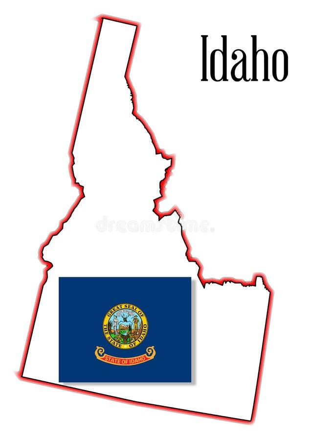 Mappa e bandiera dello stato dell'Idaho illustrazione di stock