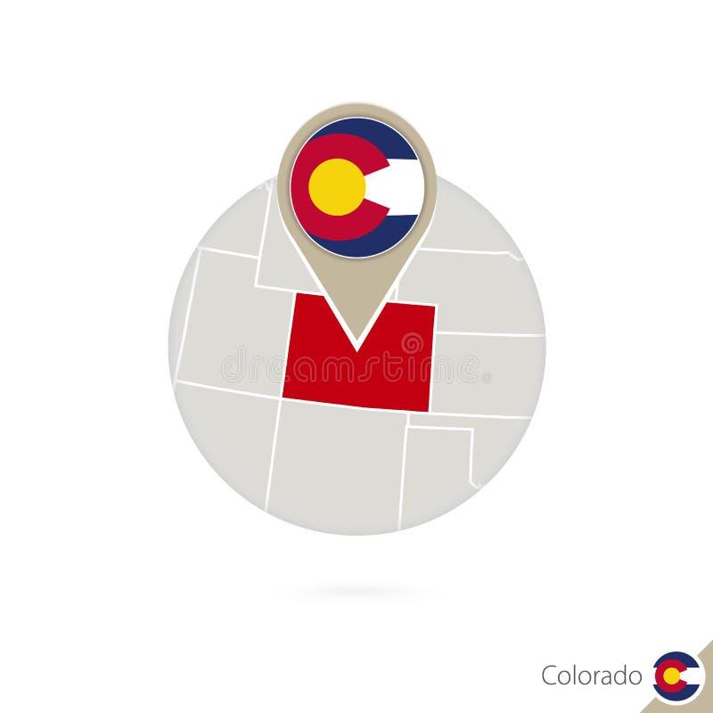 Mappa e bandiera dello stato USA di Colorado nel cerchio Mappa perno della bandiera di Colorado, Colorado Mappa di Colorado nello royalty illustrazione gratis