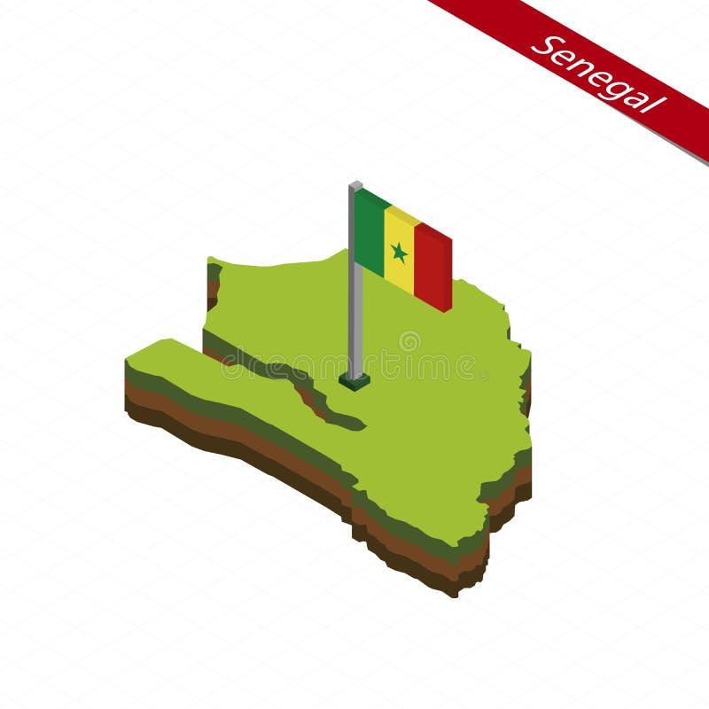 Mappa e bandiera isometriche del Senegal Illustrazione di vettore illustrazione vettoriale