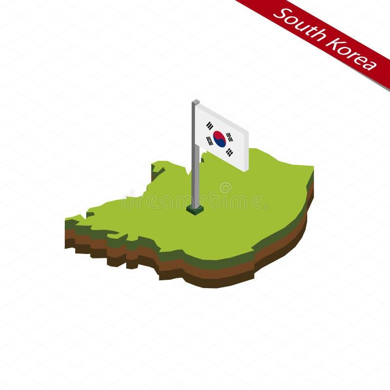 Mappa e bandiera isometriche della Corea del Sud Illustrazione di vettore royalty illustrazione gratis