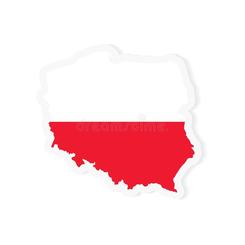Mappa e bandiera rosse e bianche della Polonia royalty illustrazione gratis