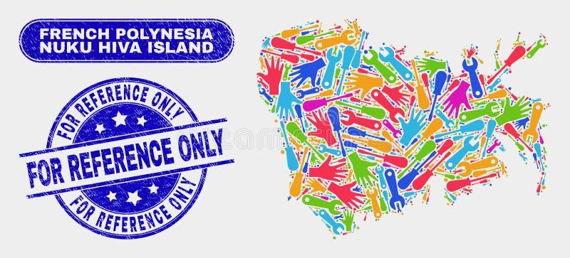 Mappa ed emergenza dell'isola di Nuku Hiva dell'Assemblea per le filigrane di riferimento soltanto royalty illustrazione gratis
