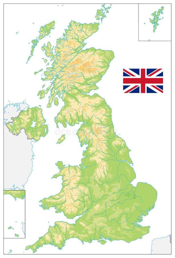 Mappa fisica in bianco del Regno Unito su bianco illustrazione di stock