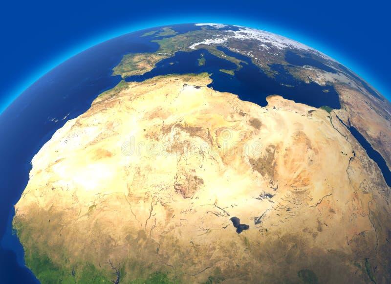 Mappa fisica del mondo, vista satellite del Nord e Africa centrale Globo emisfero Sollievi ed oceani illustrazione vettoriale