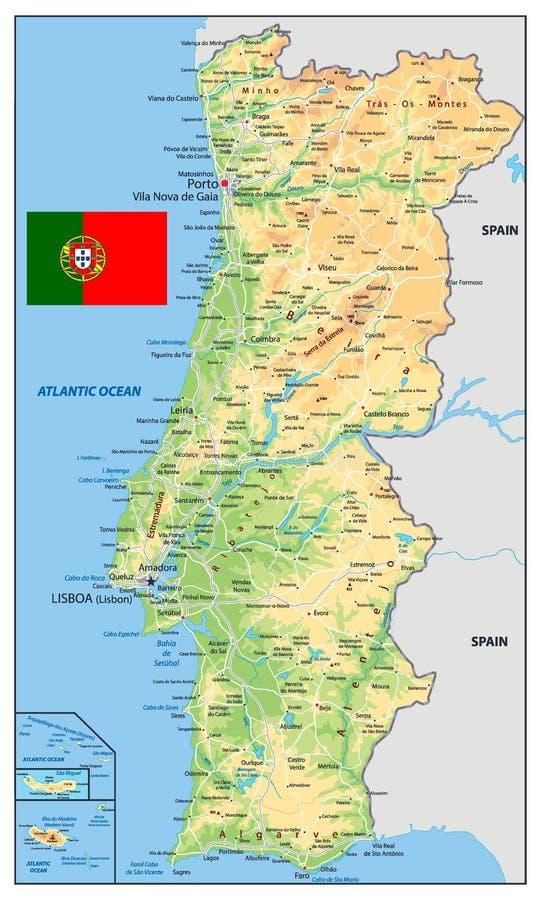 Mappa fisica del Portogallo illustrazione di stock