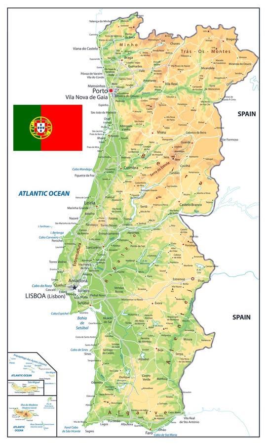 Cartina Dettagliata Del Portogallo.Colori D Annata Della Mappa Fisica Del Portogallo Nessun Testo Illustrazione Vettoriale Illustrazione Di Dettagliato Profilo 146123748