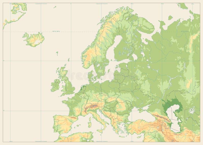 Mappa fisica di Europa isolata su retro bianco NESSUN testo illustrazione di stock