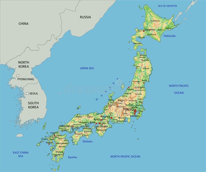 Il Giappone Cartina Politica.La Mappa Dettagliata Del Giappone Con Le Regioni Illustrazione Vettoriale Illustrazione Di Giapponese Terra 105415229