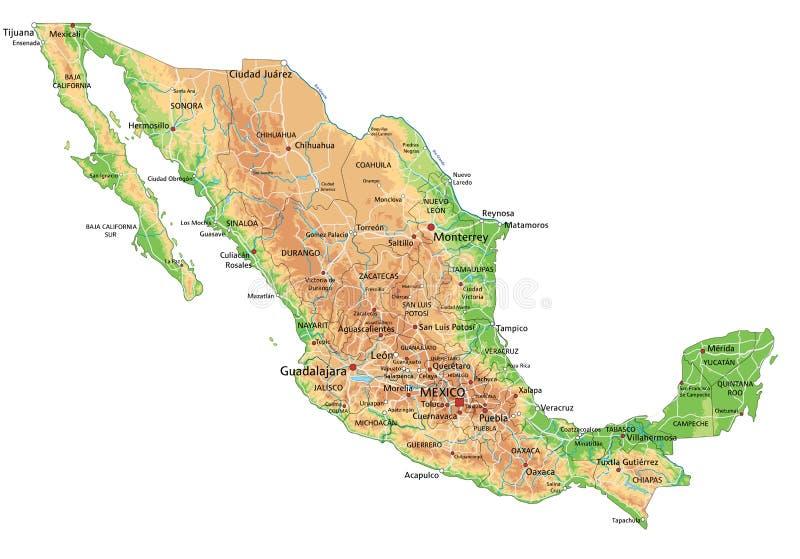 Cartina Politica Messico.Mappa Di Fisico Medica Del Messico Illustrazione Vettoriale Illustrazione Di Strada Siluetta 104422782