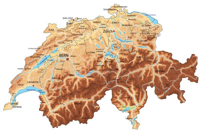 Cartina Geografica Politica Svizzera.La Mappa Dettagliata Della Svizzera Con La Bandiera Nazionale Illustrazione Vettoriale Illustrazione Di Bandierina Divisione 105414871