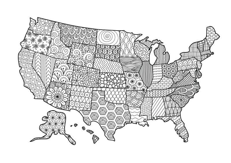 Mappa floreale di U.S.A. per l'elemento di progettazione e la pagina del libro da colorare dell'adulto Illustrazione di vettore illustrazione vettoriale