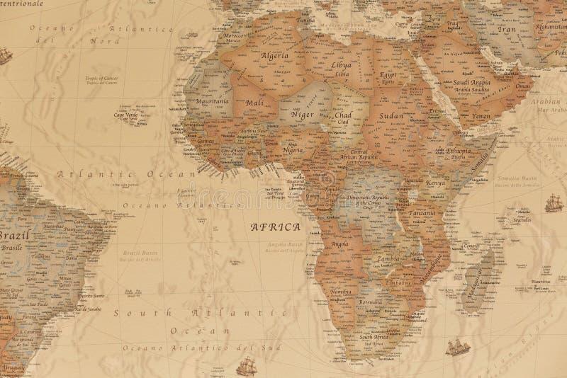 Mappa geografica antica dell'Africa fotografia stock libera da diritti
