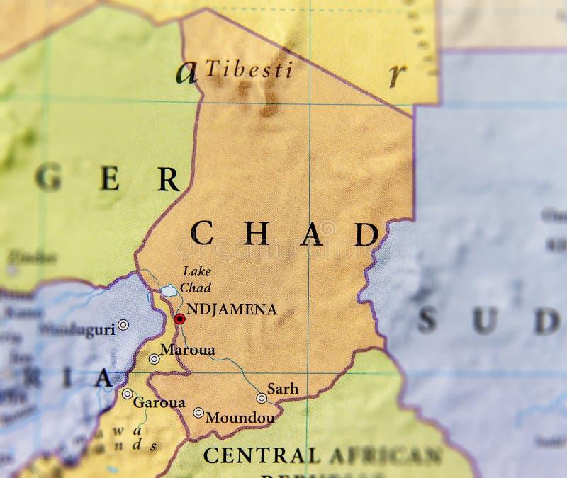 Mappa geografica del paese della Repubblica del Chad con le città importanti immagine stock libera da diritti